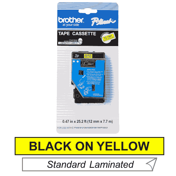 "TC-7001 1/2"" 12mm black on yellow tape"