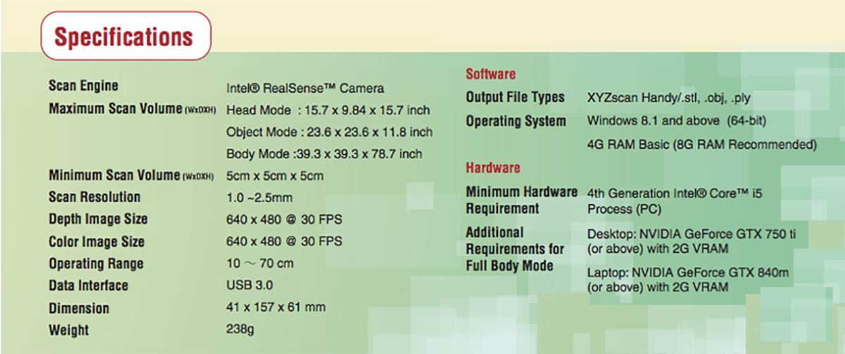 XYZprinting Full Color Handheld 3D Scanner-Specsheet