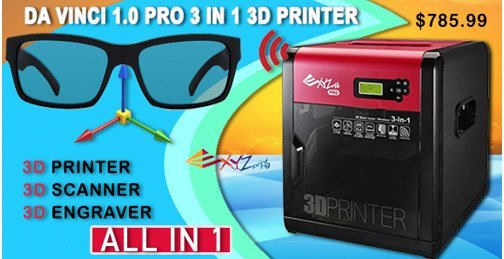 DA VINVI 1.0 PRO 3 IN 1 3D PRINTER by XYZprinting Printer, Scanner and Engraver all In One Model. $785.99
