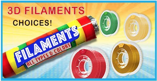 3D Filament - Print More, Spend Less sells PLA, ABS PET-G and other types of 3D Filaments in a large variety of colors including specialty metallics. Manufacturers include Craft Unique, Flashforge, Robo, Verbatim and XYZprinting.