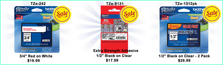 TZe-242 on Sale - $19.99, TZe-S131 on Sale - $17.99, TZe-1312pk on Sale - $26.99